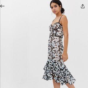 Jarlo Lace dress bustier gown corset midi ruffle